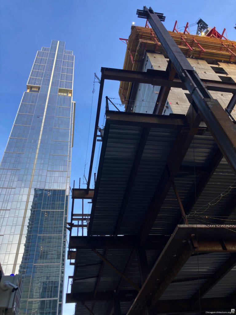 Salesforce Tower Chicago under construction in March, 2021. (Courtesy of River North Spy Sam.)