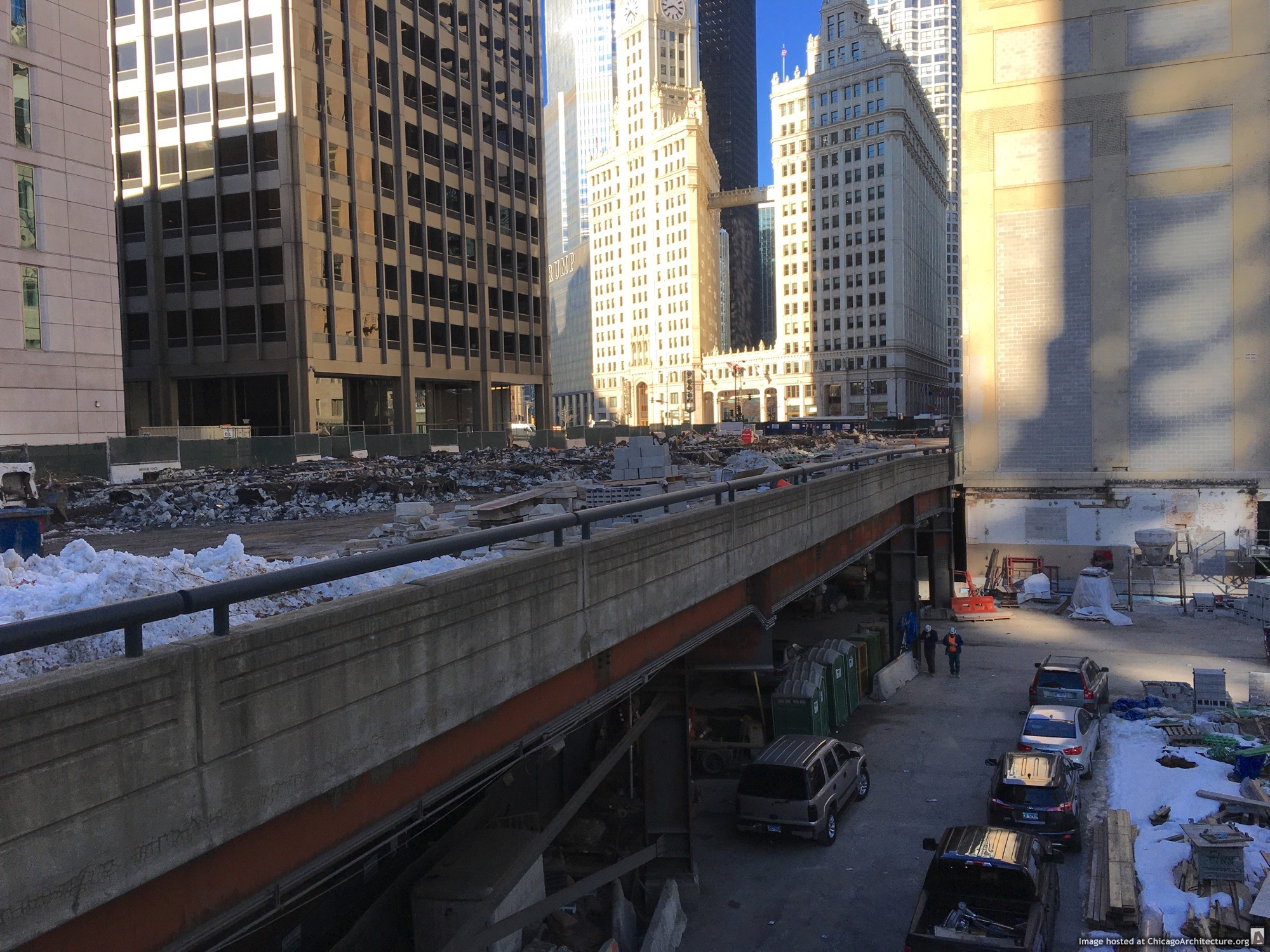 Tribune Tower under construction in March, 2021. (Courtesy of Streeterville Spy Jody.)