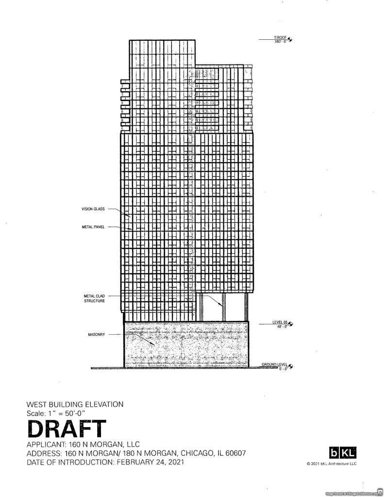 March, 2021 diagram of 160 North Morgan Street.