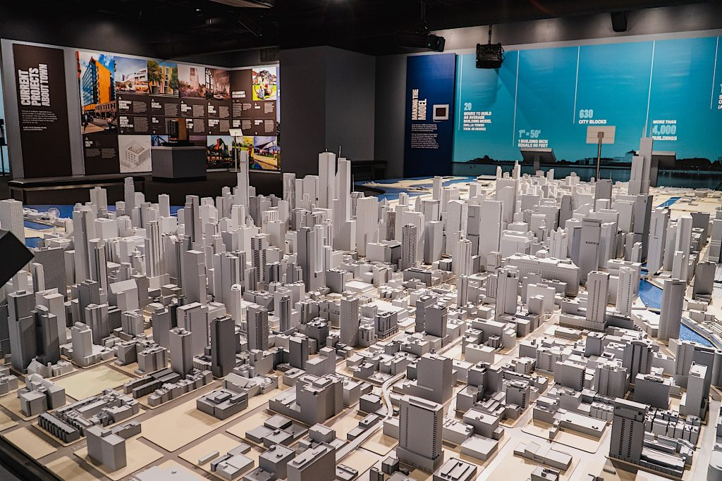 The model of Chicago. (Photo by Anna Munzesheimer. Courtesy of the Chicago Architecture Center.)
