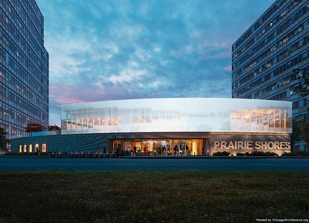 June, 2021 rendering of the Prairie Shores clubhouse. (Courtesy of Gensler.)