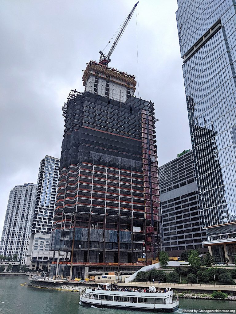 July, 2021 photograph of Salesforce Tower Chicago under construction. (Courtesy of River North Spy Mike.)