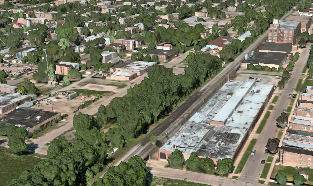 A section of the CSX embankment that may become The Altenheim Line rails-to-trails project. (Via Apple Maps)